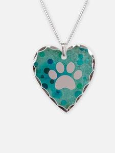 Blue Paw Dot Necklace