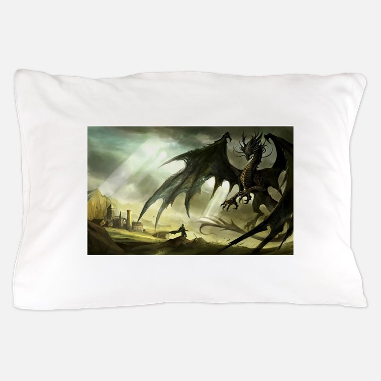 Great Black Dragon Pillow Case