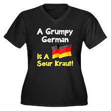 Grumpy Germa Women's Plus Size V-Neck Dark T-Shirt