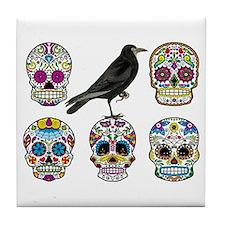 Skull By Design with Raven Tile Coaster