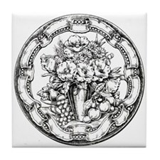 Floral Frame Bouquet Tile Coaster