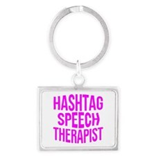 Hashtag Speech Therapist Landscape Keychain