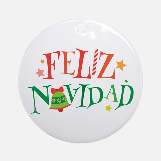 Feliz Navidad Christmas Ornament (Round)