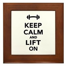Keep calm and lift on weights Framed Tile