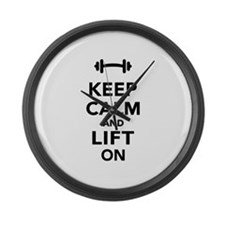 Keep calm and lift on weights Large Wall Clock