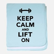 Keep calm and lift on weights baby blanket