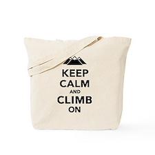 Keep calm climb on mountains Tote Bag