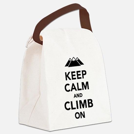 Keep calm climb on mountains Canvas Lunch Bag