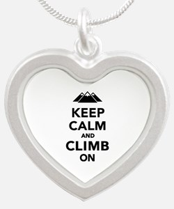Keep calm climb on mountains Silver Heart Necklace