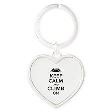 Keep calm climb on mountains Heart Keychain
