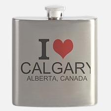 I Love Calgary Alberta Canada Flask