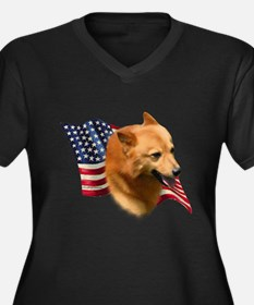 Finnish Spitz Flag Women's Plus Size V-Neck Dark T
