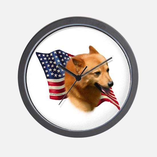 Finnish Spitz Flag Wall Clock