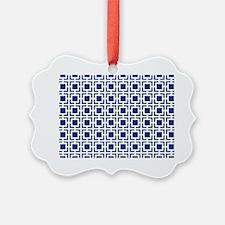 Navy Blue Geometric Lattice Patte Ornament