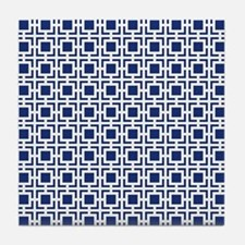 Navy Blue Geometric Lattice Pattern Tile Coaster