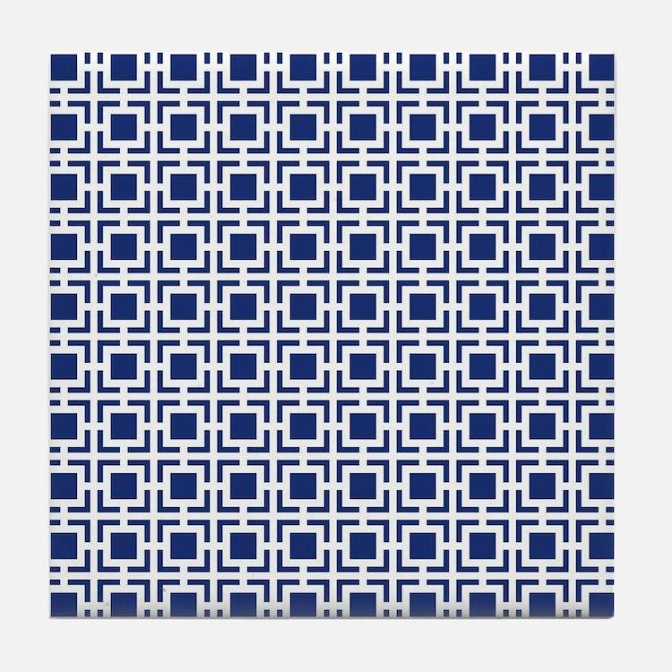 Navy Blue Geometric Lattice Pattern Tile Coaster
