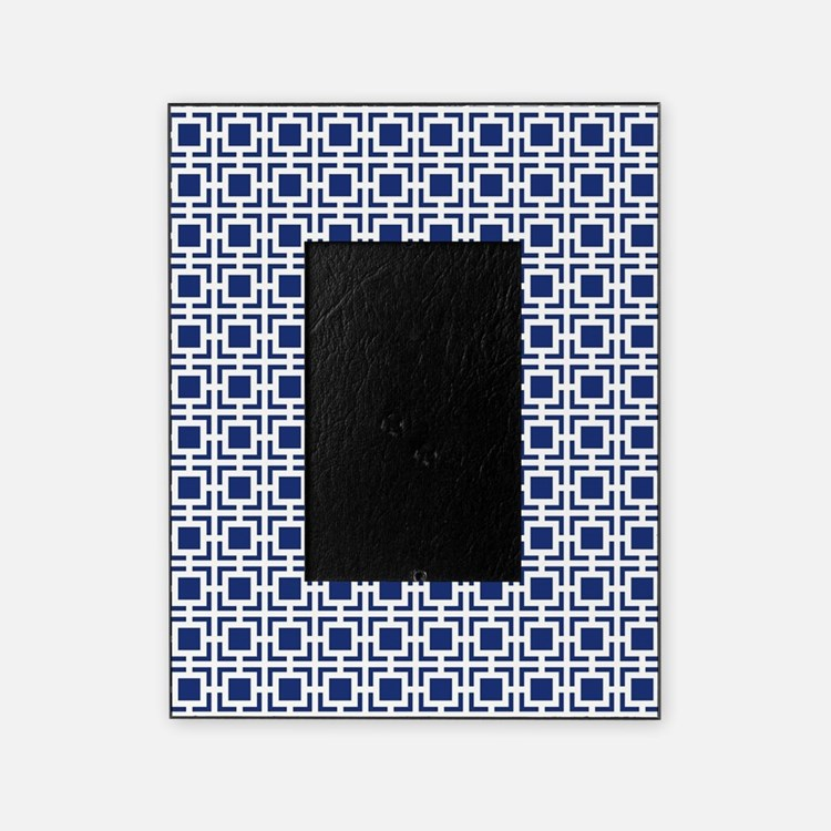 navy blue geometric lattice pattern picture frame