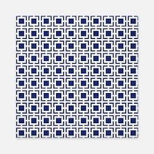 Navy Blue Geometric Lattice Pattern Queen Duvet