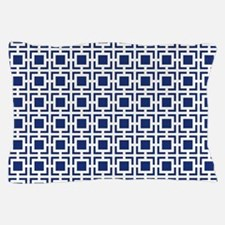 Navy Blue Geometric Lattice Pattern Pillow Case