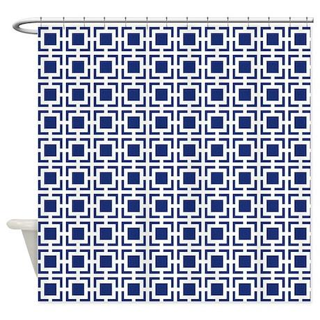 Navy Blue Geometric Lattice Pattern Shower Curtain By