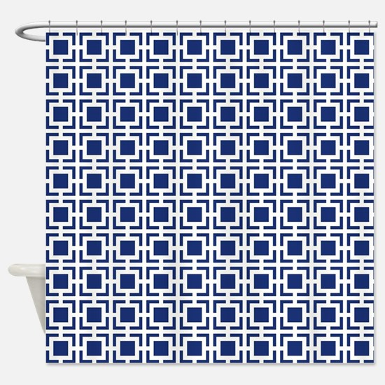 Navy Blue Geometric Lattice Pattern Shower Curtain
