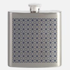 Navy Blue Geometric Lattice Pattern Flask
