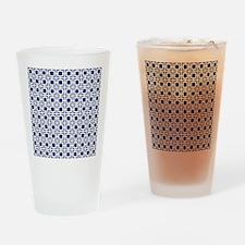 Navy Blue Geometric Lattice Pattern Drinking Glass