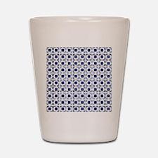 Navy Blue Geometric Lattice Pattern Shot Glass
