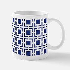 Navy Blue Geometric Lattice Pattern Mug