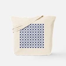 Navy Blue Geometric Lattice Pattern Tote Bag