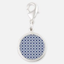 Navy Blue Geometric Lattice Pa Silver Round Charm