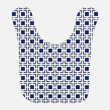 Navy Blue Geometric Lattice Pattern Bib