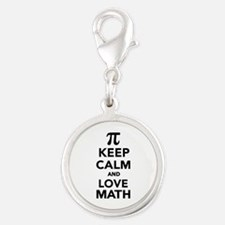 Keep calm and love Math Pi Silver Round Charm
