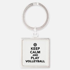 Keep calm and play Volleyball Square Keychain