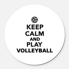 Keep calm and play Volleyball Round Car Magnet