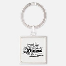 Fitness Word Cloud Keychains