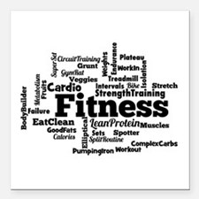 "Fitness Word Cloud Square Car Magnet 3"" x 3"""