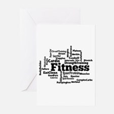 Fitness Word Cloud Greeting Cards
