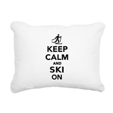 Keep calm and Ski on cro Rectangular Canvas Pillow