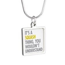 Its A Sqash Thing Silver Square Necklace