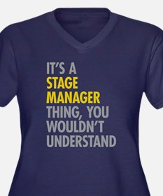 Stage Manage Women's Plus Size V-Neck Dark T-Shirt
