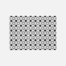 Dark Grey Geometric Lattice Pattern 5'x7'Area Rug