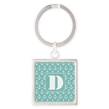 Monogram Letter D Nautical Square Keychain