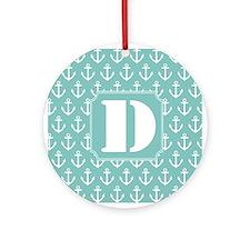 Monogram Letter D Nautical Ornament (Round)