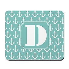 Monogram Letter D Nautical Mousepad
