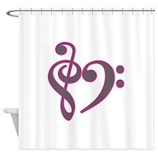 musicheartsilverpink.PNG Shower Curtain
