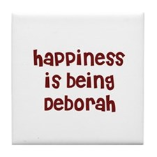 happiness is being Deborah Tile Coaster