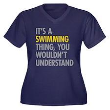 Its A Swimmi Women's Plus Size V-Neck Dark T-Shirt