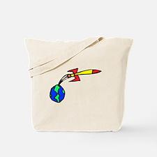 Rocket Leaving Earth Tote Bag
