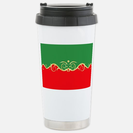 Red and green fancy bor Stainless Steel Travel Mug